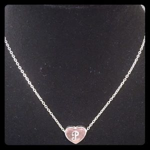 "Jewelry - Dainty Initial ""P"" Heart Pendant A02"